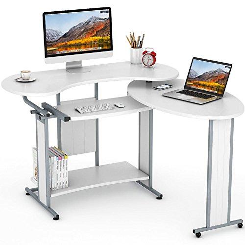 (L-Shaped Computer Desk, LITTLE TREE Rotating Corner Desk & Modern Office Study Workstation, for Home Office or Living Room (White))