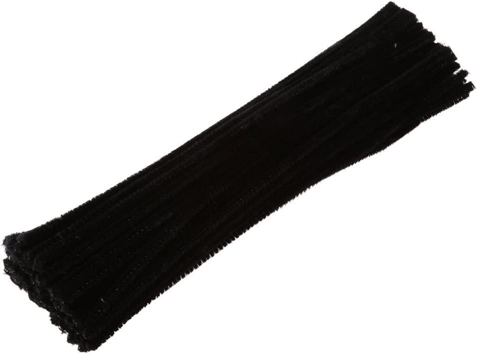 Black MonkeyJack 100 Pieces Chenille Stems Pipe Cleaners Shilly-stick Handcraft Plush Twist Rods