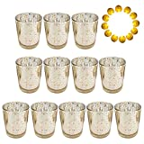 Neo LOONS Laser Cut Mercury Glass Votive Candle Holder Tealight Holder 2.70'' Height for Home Decor Wedding Party Celebration Gift, Set of 12 (Speckled Gold)