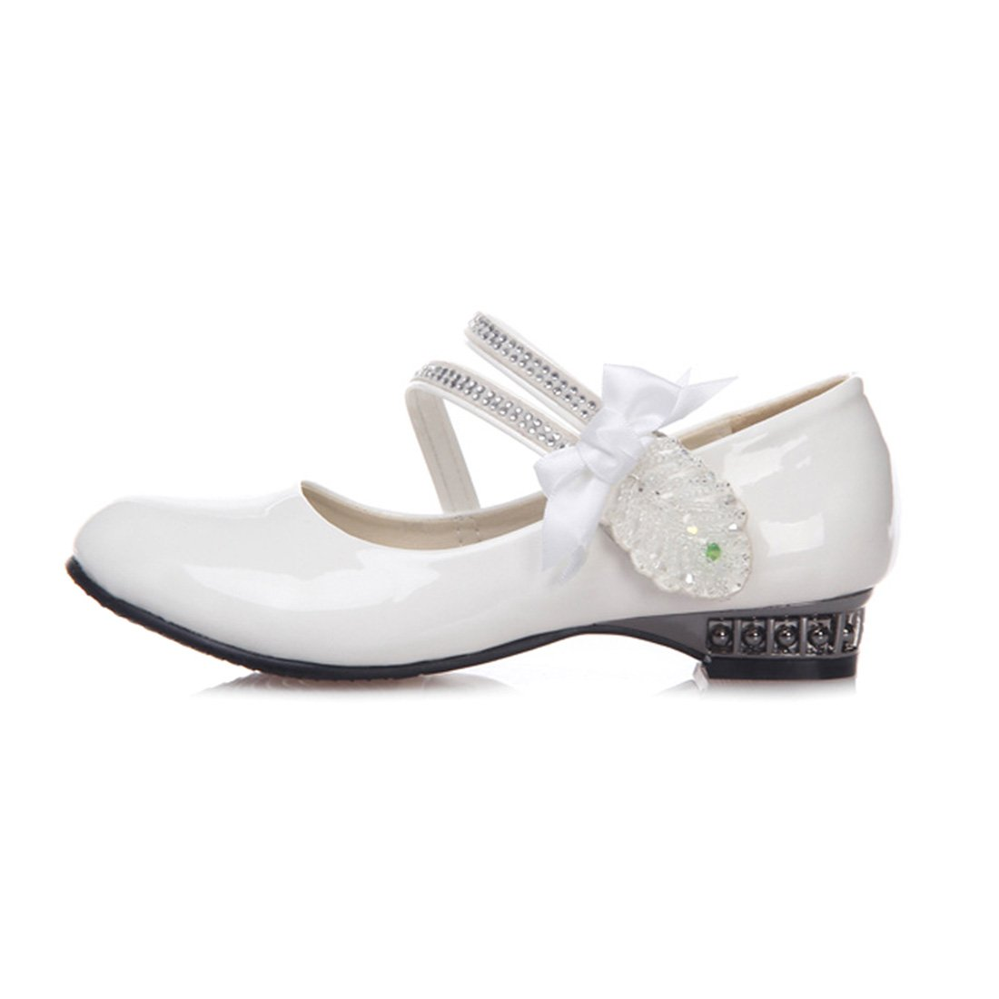 YIBLBOX Girls Kids Toddler Dress up Cosplay Princess Wedding Shoes Bowknot Crystal Mary Jane Low Heel Shoes for Girls