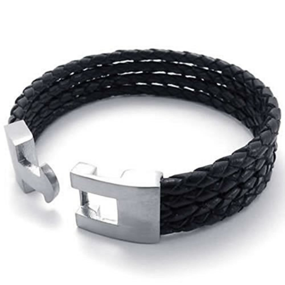 8 CLJSTORE Jewelry Black Leather Mens Bracelet Bangle Stainless Steel Clasp 9 8.5
