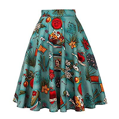 Yamed New Floral Print Women Skirts Summer Green High Waist Casual Vintage Swing Retro Skater Midi Skirt Faldas Mujer