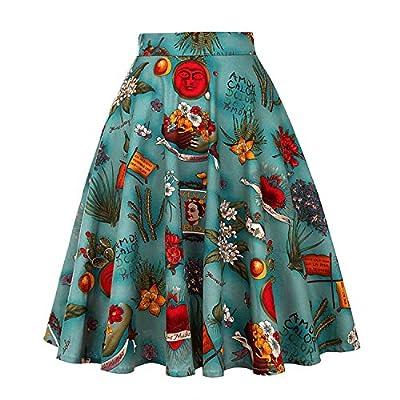 Yamed New Floral Print Women Skirts Summer Green High Waist Casual Vintage Swing Retro Skater Midi Skirt Faldas Mujer