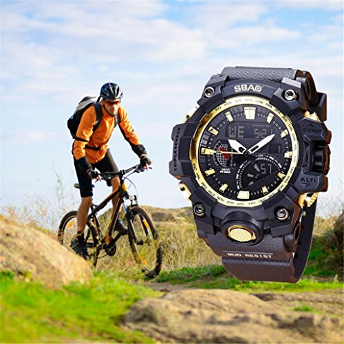 - T2000 26cm Watch LED Men Waterproof Sports Watches,Alarm, Whole Point Timekeeping,Long-life Battery,Tuscom (C)