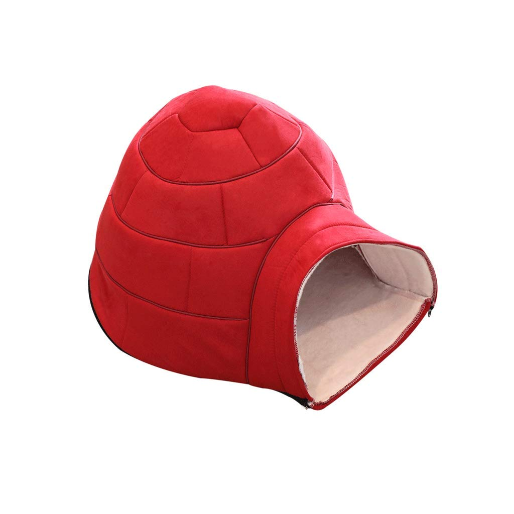 RED WANGXIAOLIN Pet nest, cat Litter, Shu Cotton, Removable and Washable, 58  48  38cm, Turtle Shell, Warm, Comfortable, Kennel, Small, Four Seasons Universal, (2 colors) (color   RED)