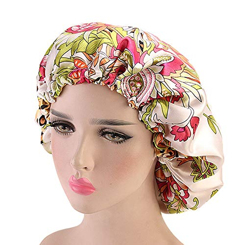 Extra Large Satin Sleep Bonnet Cap, Double Layered, Reversible, Multi Color, Adjustable Satin Cap