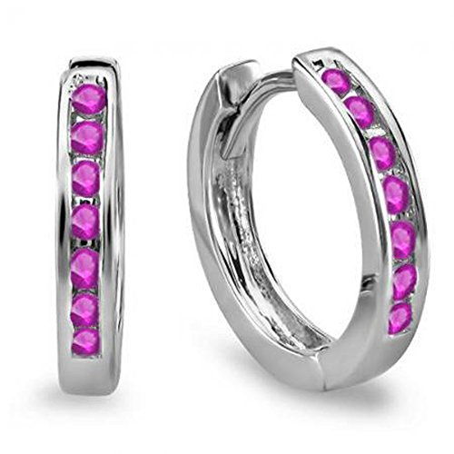 0.18 Carat (ctw) 10k White Gold Small Round Pink Sapphire Huggie Hoop Earrings by DazzlingRock Collection