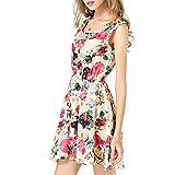 POHOK Mini Women Dress Women Sleeveless Printed Chiffon Dresses Summer Beach Flower Vest Dress Beige