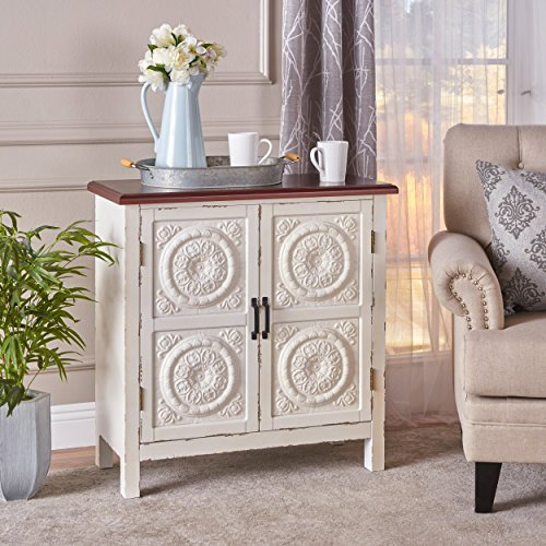 - Aliana Distressed White Finished Firwood Cabinet with Faux Wood Overlay and Brown Top