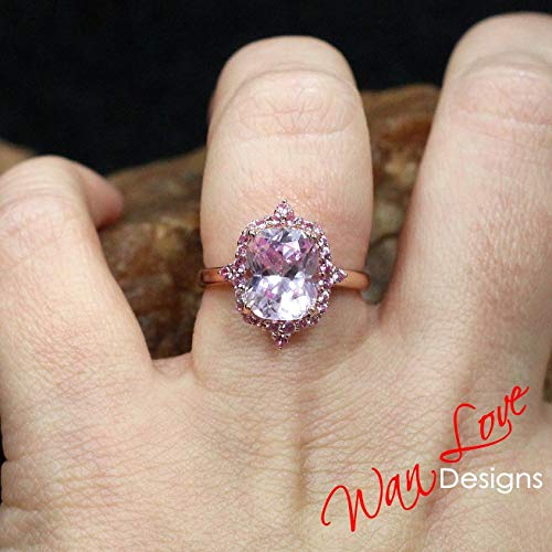 Light Pink Sapphire Engagement Ring, Floral Halo, Elongated Cushion, 4ct-10x8mm-Wedding-Anniversary-Rose Gold, ()