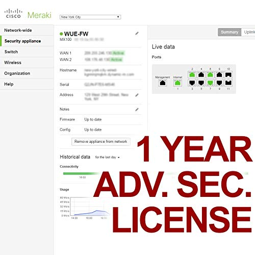 Meraki MX65 Advanced Security Meraki License 3 Years LIC-MX65-SEC-3YR