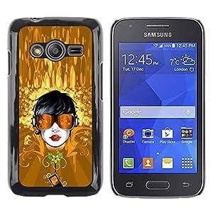 FECELL CITY // Duro Aluminio Pegatina PC Caso decorativo Funda Carcasa de Protección para Samsung Galaxy Ace 4 G313 SM-G313F // Gold Dude Sunglasses Summer Floral