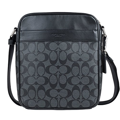Coach Mens Flight Bag in Signature PVC 54788 in Charcoal/Black (Coach Bag For Men Flight)
