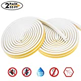 Weather Stripping for Door,Insulation Weatherproof Doors and Windows Soundproofing Seal Strip,Collision Avoidance Rubber Self-Adhesive Weatherstrip,2 Pack,Total 33Feet Long (White): more info