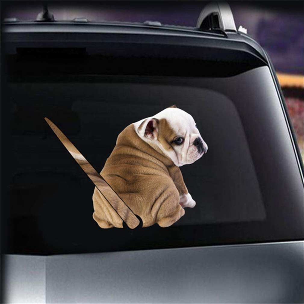 Amazon com dolland cartoon dog moving tail car stickers self adhesive window wiper sticker wiper decal for rear car window cell phones accessories