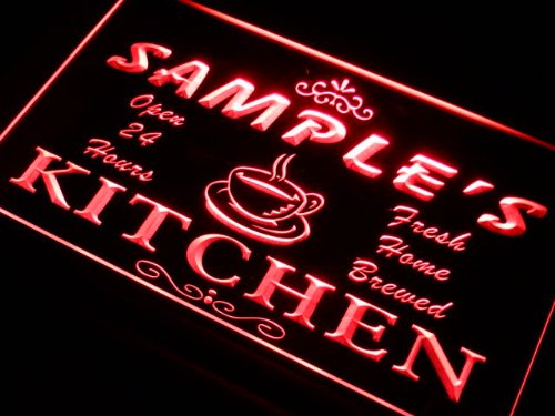 pc1564-r Christian's Home Kitchen Open Bar Neon Sign