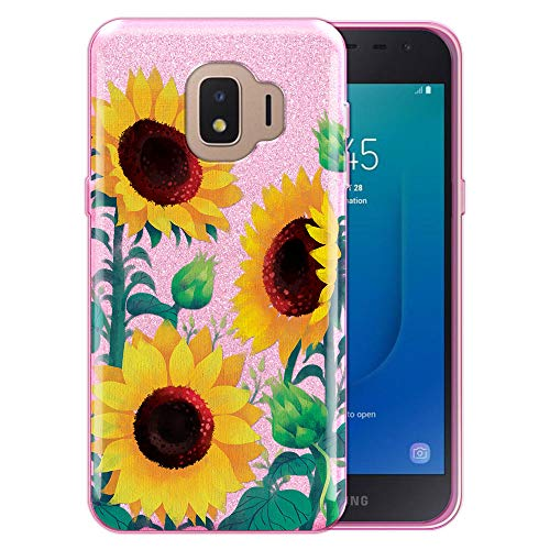 FINCIBO Case Compatible with Samsung Galaxy J2 Core J260 5 inch 2018, Shiny Sparkling Pink Bling Glitter TPU Protector Cover Case for Galaxy J2 Core - Sunflower Portrait