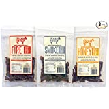 Naked Cow All Natural Grass Fed Beef Jerky - Includes 2.25 oz of Smoke Flavor, 2.25 oz of Honey Flavor, and 2.25 oz of Fire Flavor (Sampler Pack Includes 1 Pack of Each Variety)