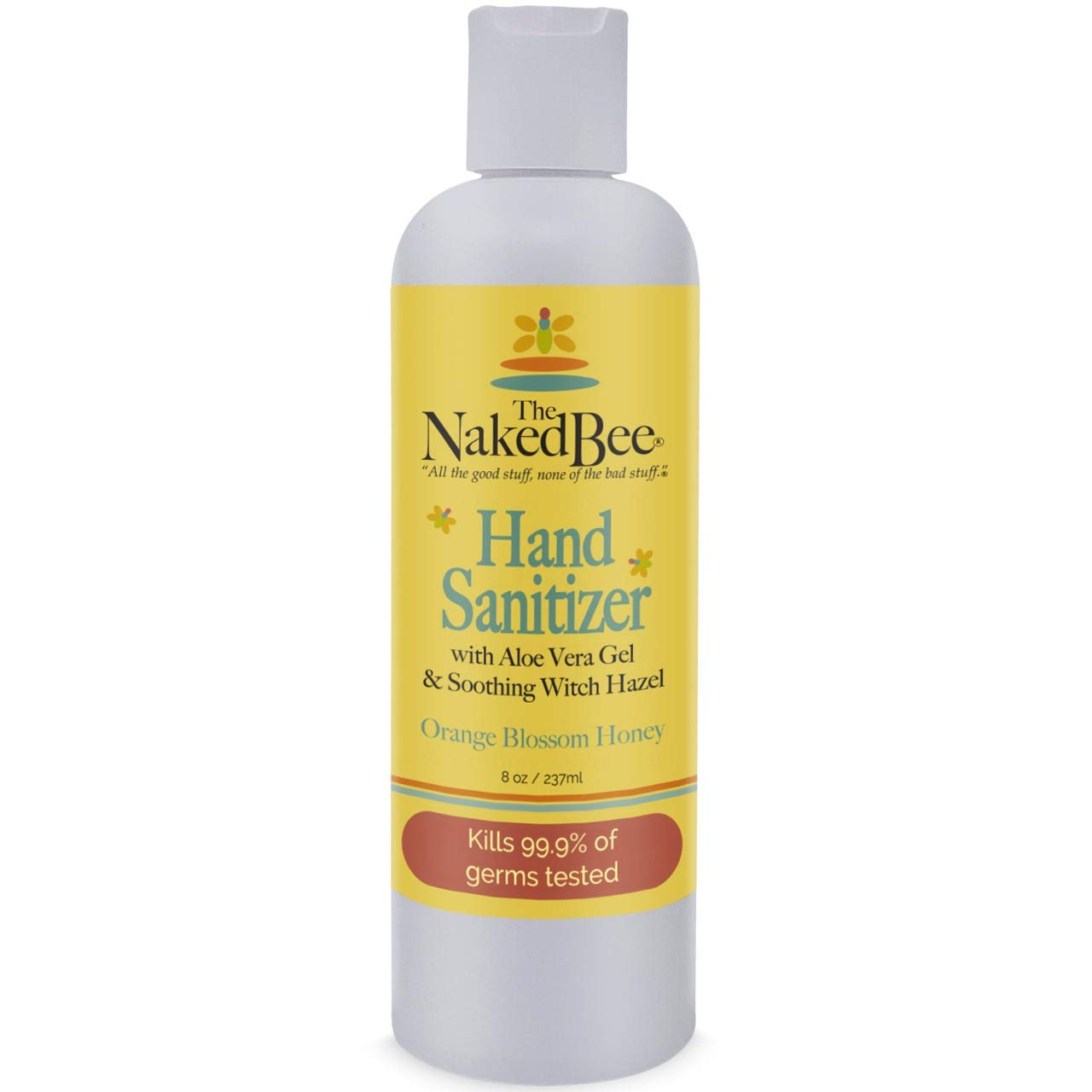 The Naked Bee Hand Sanitizer - Orange Blossom Honey Pump 8oz - Antiseptic Decreases Bacteria on Hands - Orange Blossom Honey Hand Sanitizer (1 Pack)