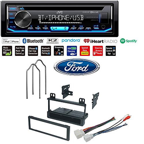 (JVC KD-RD79BT 1-Din Car CD Receiver Stereo w/Bluetooth/USB/AUX/Pandora/iPhone Ford 1995-2005 Explorer (All Models) CAR Radio Stereo Radio KIT Dash Installation MOUNTING Wiring Harness)