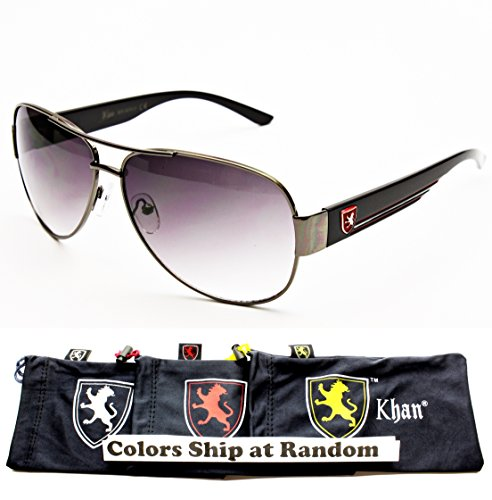 A153-KP Khan Brand Lion Logo Aviator Sunglasses (3915 Gunmetal/Black/Red logo, uv400) - Metal Logo Aviator Sunglasses