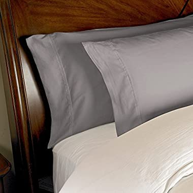 1000 Thread Count 2-Piece Egyptian Cotton Pillowcase Set by ExceptionalSheets, Standard, Grey
