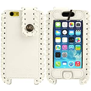 SHOWKOO Premium Retro Luxury Vertical Style 6 Layers Genuine tapa Case Cover Carcasa para iPhone 5C 5 5S & & (White)