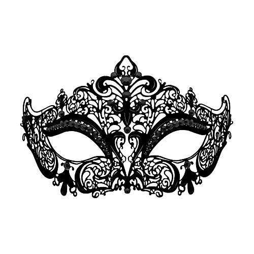 [WINK KANGAROO Laser Cut Metal Lady Masquerade Halloween Mardi Gras Party Mask (Black metal black] (Masquerade Masks Metal)