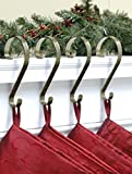 Haute Decor Stocking Scrolls 4-PACK Stocking Hanger Set (Embossed Holly-Antique Brass)