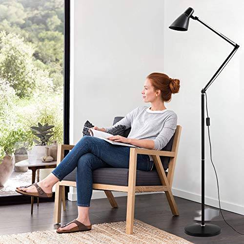 - Floor Lamp for Reading with Swing Arm, LED Bulbs can be Replaced, Energy Saving, Metal Standing Lamp with Adjustable Gooseneck for Living Room, Bedroom, Study Room and Office