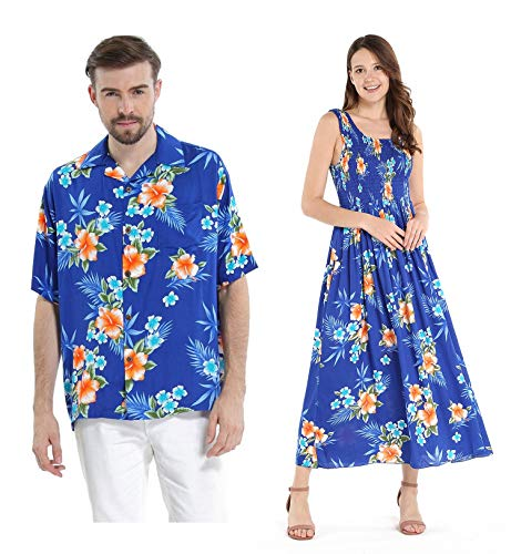 Couple Matching Hawaiian Luau Aloha Shirt Maxi Tank Dress in Hibiscus in Blue XL