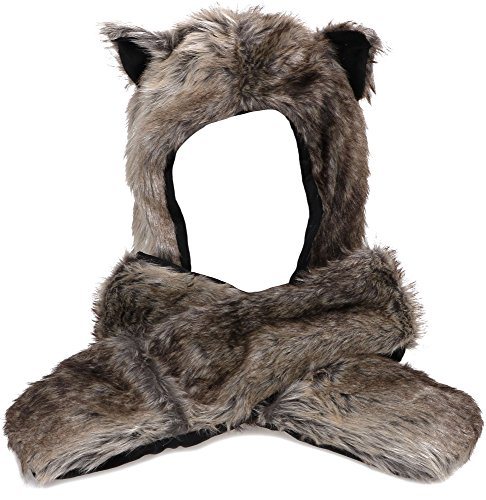 Simplicity Cute Hats Caps Animal Beanie Hats with Scarf and Gloves, 1476_Grey Wolf -