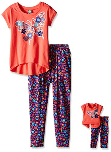 Dollie & Me Girls' Short Sleeve Hi-Lo Top with Floral Printed Jogger Pant Set