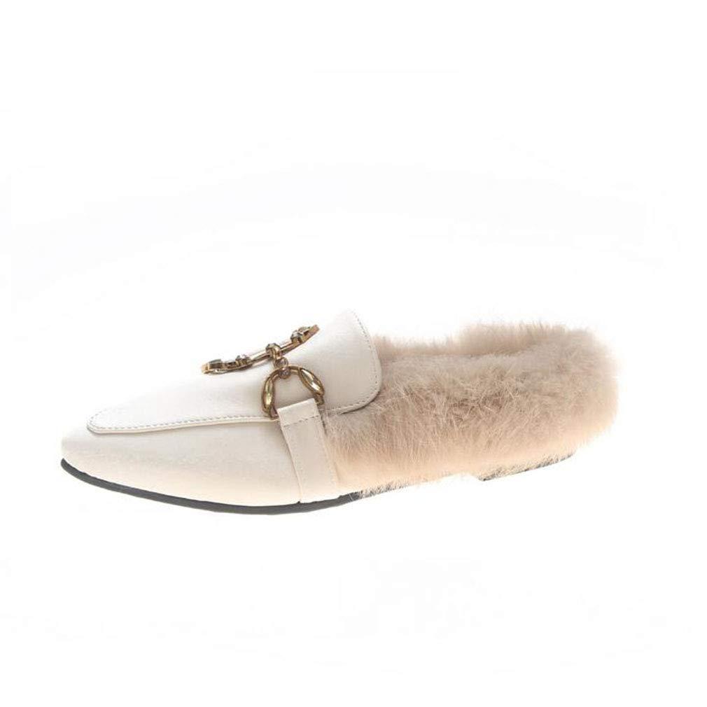 Hy Frauen Schuhe, künstliche PU Frühling/Herbst Flache Freizeitschuhe, Damen Kleid Schuhe, halbe Hausschuhe, Wanderschuhe, Hochzeit & Abend (Farbe : Beige, Größe : 36)