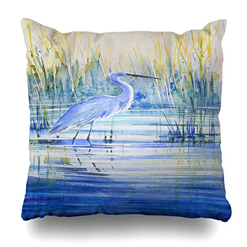 AlliuCoo Throw Pillow Covers Heron Brown Artistic Blue On Lake Shore Sunset Wildlife Watercolor Bird Brushstroke Cane Colored Home Decor Zippered Cushion Case Square Size 20