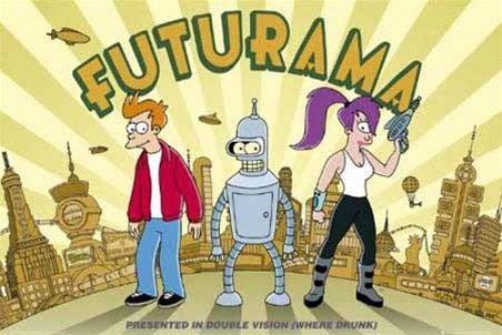 Futurama Double Vision Cartoon TV Poster 24 x 36 inches