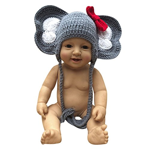 Baby Newborn Elephant Costume (Newborn Elephant Hat Baby Girl Boy Photography Photo Prop Bow Crochet Knit Caps)
