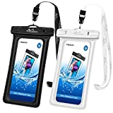 MoKo Floating Waterproof Phone Case [2 Pack], Universal TPU Cellphone Pouch Dry Bag Compatible with iPhone X/8 Plus/8/7/6S Plus, Samsung Galaxy S9/S8 Plus, Note 9/8, Google Nexus - Black + White