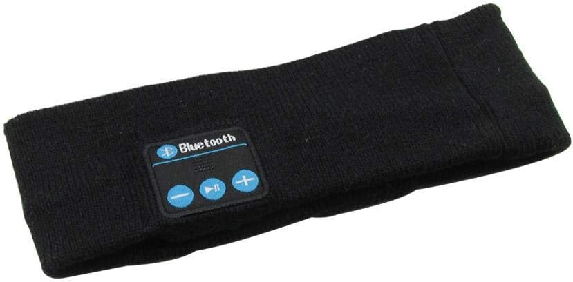 EEEXY Winter Knitting Music Headband Headset W/Mic Wireless Bluetooth Earphone Headphone for Running Sleep Sports Earpiece, Black