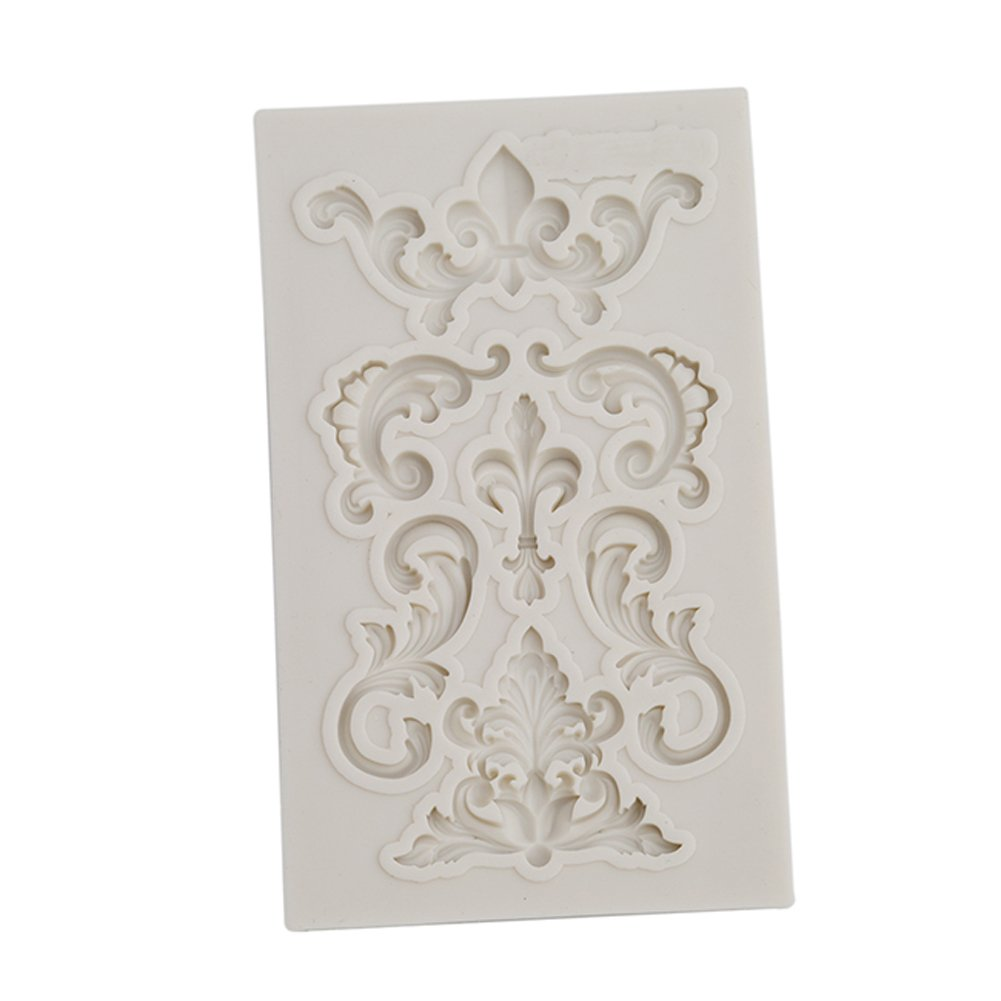 LALANG Baroque Sculpted Flower Lace Silicone Fondant Mould Cake Decor Sugar Mold