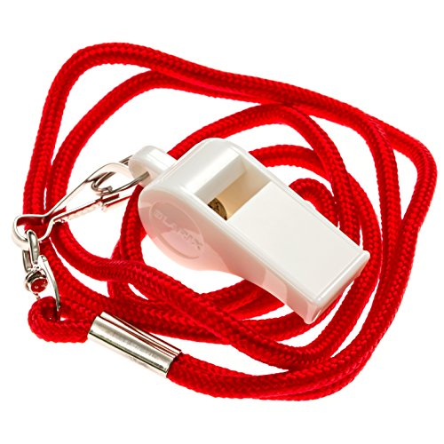 BLARIX Guard Pea Whistle and Lanyard (White and Red)
