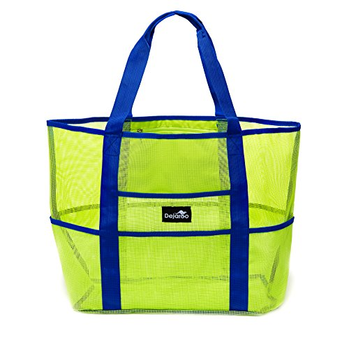 Beach Bag - Dejaroo Mesh Beach Bag – Toy Tote Bag – Large Lightweight Market, Grocery & Picnic Tote with Oversized Pockets