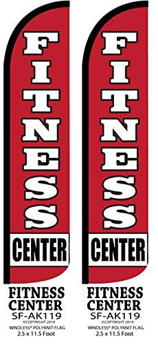 Fitness Center Two(2) Windless Swooper Feather Flag Sign Kits With Pole and Ground Spikes by Accent Printing & Signs