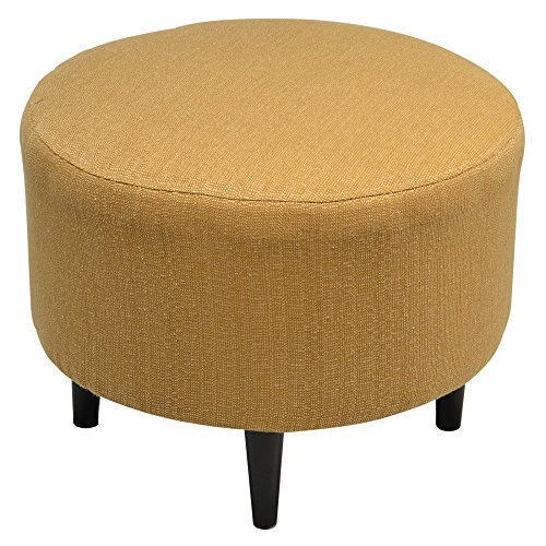 Sole Designs Candice Series Sophia Collection Round Upholstered Ottoman with Espresso Leg Finish, Fawn (Sofa Collection Fabric Sophia)
