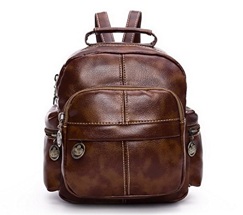 Las mujeres las niñas dama mochila Fashion bolsa de hombro bolsa de viaje de piel sintética mochila, morado (Morado) - ACME marrón