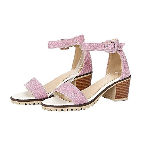 Open Heels Sandals Women's Blend Toe VogueZone009 Pink Materials Solid Buckle Kitten 1Hqx4PU