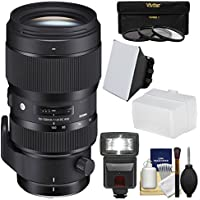 Sigma 50-100mm f/1.8 Art DC HSM Zoom Lens with 3 Filters + Flash + Diffuser + Soft Box + Kit for Nikon Digital SLR Cameras