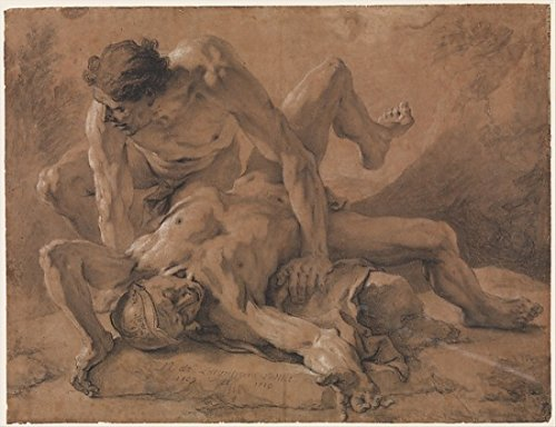 Two Nude Male Figures Struggling Together Poster Print by Nicolas de Largillierre (8 x 10)