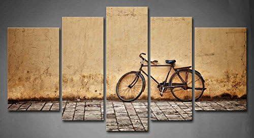 First Wall Art - Retro Cuadros en Lienzo Bicicleta Vieja Estacionada en un Camino Rural Decoracion de Pared 5 Piezas Modernos Mural Fotos para Salon,Dormitorio,Baño,Comedor: Amazon.es: Hogar