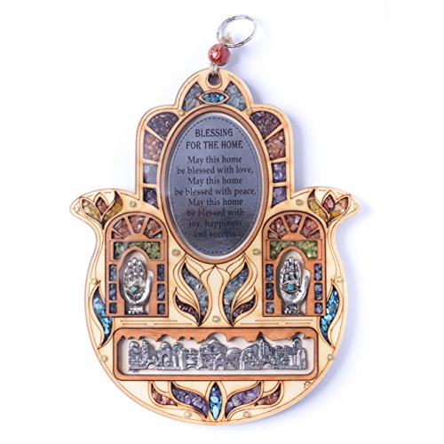 (Jerusalem Evil Eye Stone Hand Of Fatima Wood Wall Hanging Hamsa Home Blessing Decor Protection Symbols Gift)